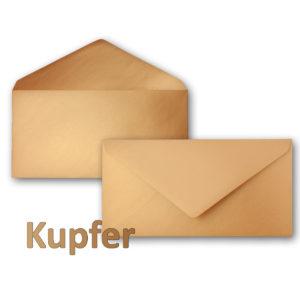 Umschlag DL, Farbe: kupfer, Grammatur: 90 g/m², spitze Klappe, Naßklebung
