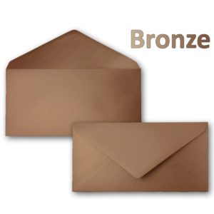 Umschlag DL, Farbe: bonze, Grammatur: 90 g/m², spitze Klappe, Naßklebung