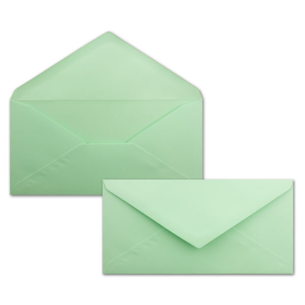 Umschlag DL, Farbe: mintgrün, Grammatur: 120 g/m², spitze Klappe, Naßklebung