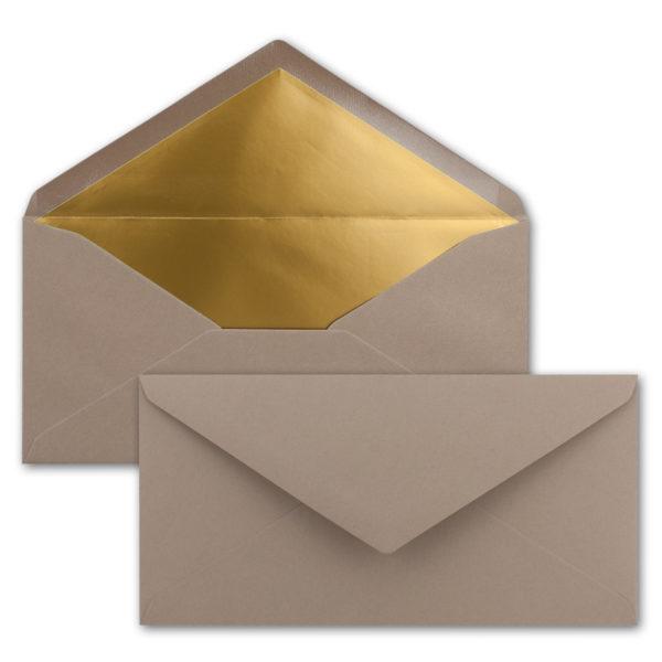Briefumschlag DL, Farbe: cappuccino, Grammatur: 120 g/m², spitze Klappe, Naßklebung, Seidenfutter: gold