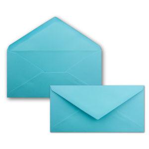 Umschlag DL, Farbe: türkis, Grammatur: 120 g/m², spitze Klappe, Naßklebung