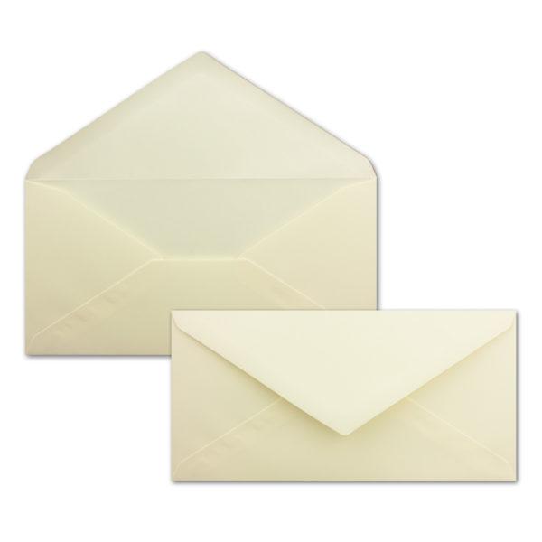 Umschlag DL, Farbe: vanille, Grammatur: 120 g/m², spitze Klappe, Naßklebung