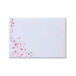 Umschlag B6, Farbe: weiß mit Foliensternen rot, Grammatur: 100 g/m², spitze Klappe, Nassklebung