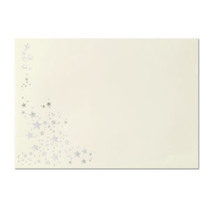 Umschlag B6, Farbe: creme mit Foliensternen gold, Grammatur: 100 g/m², spitze Klappe, Nassklebung