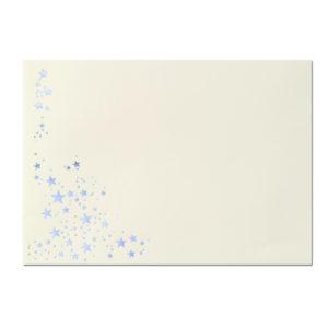 Umschlag B6, Farbe: creme mit Foliensternen silber, Grammatur: 100 g/m², spitze Klappe, Nassklebung