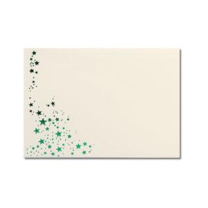 Umschlag B6, Farbe: creme mit Foliensternen grün, Grammatur: 100 g/m², spitze Klappe, Nassklebung