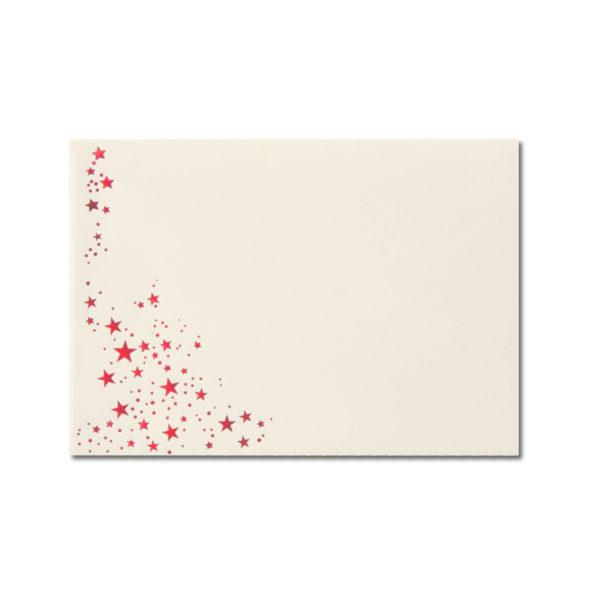 Umschlag B6, Farbe: creme mit Foliensternen rot, Grammatur: 100 g/m², spitze Klappe, Nassklebung