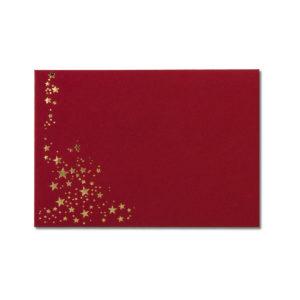 Umschlag B6, Farbe: dunkelrot mit Foliensternen gold, Grammatur: 110 g/m², spitze Klappe, Nassklebung