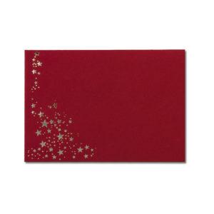 Umschlag B6, Farbe: dunkelrot mit Foliensternen silber, Grammatur: 110 g/m², spitze Klappe, Nassklebung