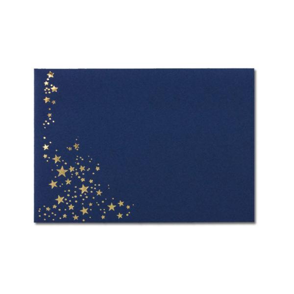 Umschlag B6, Farbe: dunkelblau mit Foliensternen gold, Grammatur: 110 g/m², spitze Klappe, Nassklebung