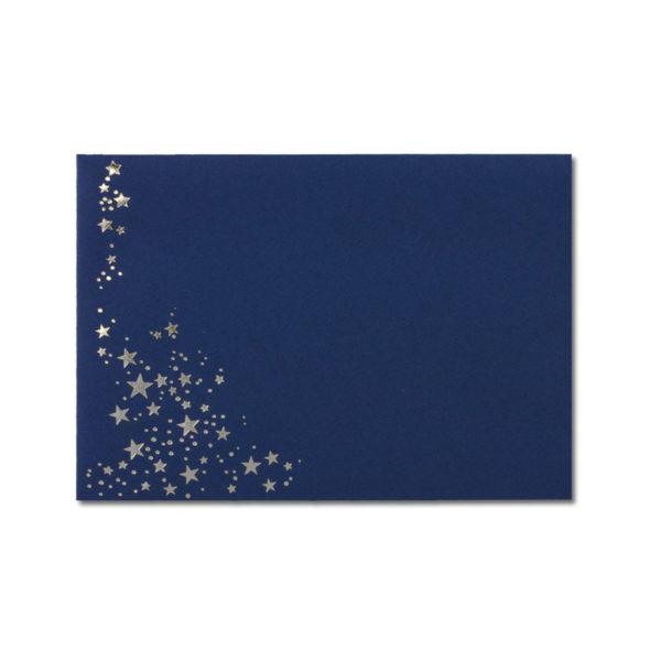 Umschlag B6, Farbe: dunkelblau mit Foliensternen silber, Grammatur: 110 g/m², spitze Klappe, Nassklebung