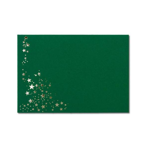 Umschlag B6, Farbe: dunkelgrün mit Foliensternen silber, Grammatur: 110 g/m², spitze Klappe, Nassklebung