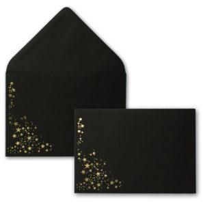 Umschlag B6, Farbe: schwarz mit Foliensternen gold, Grammatur: 120 g/m², spitze Klappe, Nassklebung