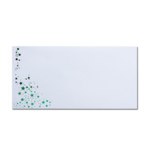 Umschlag DL, Farbe: weiß mit Foliensternen grün, Grammatur: 100 g/m², Nassklebung