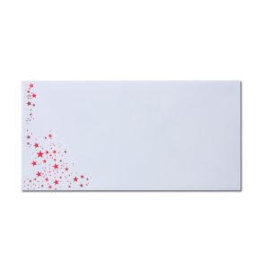 Umschlag DL, Farbe: weiß mit Foliensternen rot, Grammatur: 100 g/m², Nassklebung