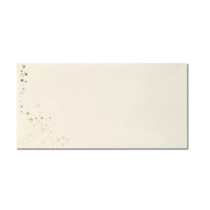 Umschlag DL, Farbe: creme mit Foliensternen gold, Grammatur: 80 g/m², Nassklebung
