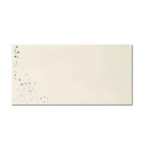 Umschlag DL, Farbe: creme mit Foliensternen silber, Grammatur: 80 g/m², Nassklebung
