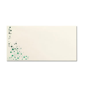 Umschlag DL, Farbe: creme mit Foliensternen grün, Grammatur: 80 g/m², Nassklebung