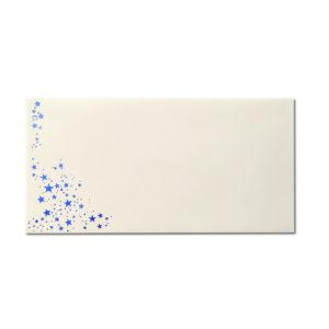 Umschlag DL, Farbe: creme mit Foliensternen blau, Grammatur: 80 g/m², Nassklebung