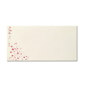 Umschlag DL, Farbe: creme mit Foliensternen rot, Grammatur: 80 g/m², Nassklebung