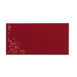 Umschlag DL, Farbe: dunkelrot mit Foliensternen gold, Grammatur: 120 g/m², Nassklebung
