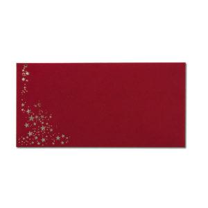 Umschlag DL, Farbe: dunkelrot mit Foliensternen silber, Grammatur: 120 g/m², Nassklebung