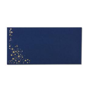 Umschlag DL, Farbe: dunkelblau mit Foliensternen gold, Grammatur: 120 g/m², Nassklebung