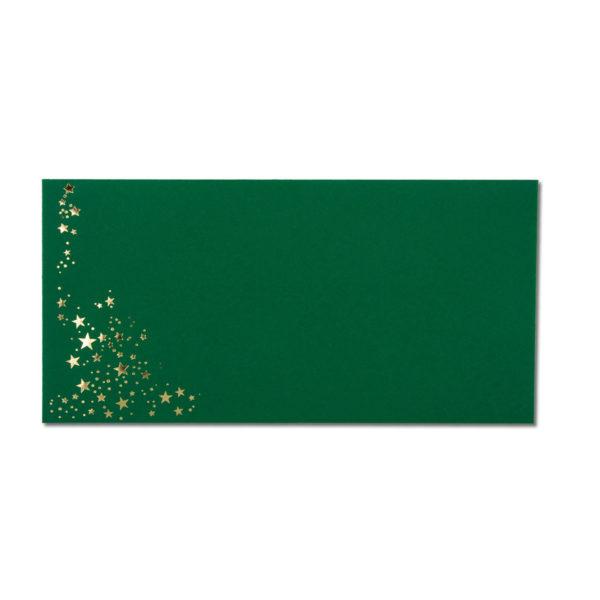 Umschlag DL, Farbe: dunkelgrün mit Foliensternen gold, Grammatur: 120 g/m², Nassklebung
