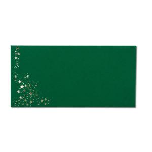 Umschlag DL, Farbe: dunkelgrün mit Foliensternen silber, Grammatur: 120 g/m², Nassklebung