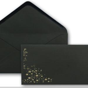 Umschlag DL, Farbe: schwarz mit Foliensternen gold, Grammatur: 120 g/m², Nassklebung