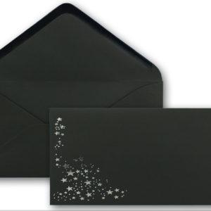 Umschlag DL, Farbe: schwarz mit Foliensternen silber, Grammatur: 120 g/m², Nassklebung