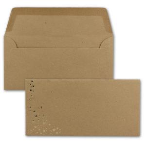 Umschlag DL, Farbe: sandbraun mit Foliensternen gold, Grammatur: 120 g/m², Nassklebung