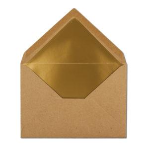 Umschlag Recyling, B6, Farbe: braun, Grammatur: 110 g/m², Naßklebung, Seidenfutter: gold