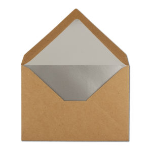 Umschlag Recyling, B6, Farbe: braun, Grammatur: 110 g/m², Naßklebung, Seidenfutter: silber