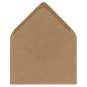 Umschlag Recycling B6, Farbe: sandbraun, Grammatur: 120 g/m², spitze Klappe, Naßklebung
