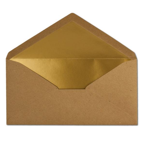 Umschlag Recyling, DL, Farbe: braun, Grammatur: 110 g/m², Naßklebung, Seidenfutter: gold