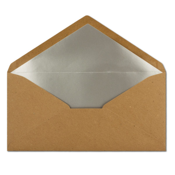 Umschlag Recyling, DL, Farbe: braun, Grammatur: 110 g/m², Naßklebung, Seidenfutter: silber