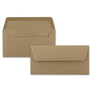Umschlag Recycling DL, Farbe: sandbraun, Grammatur: 120 g/m², gerade Klappe, Naßklebung