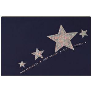 Weihnachtskarte, blauer Karton , mit weißem Einlegeblatt und Umschlag, Silberprägung
