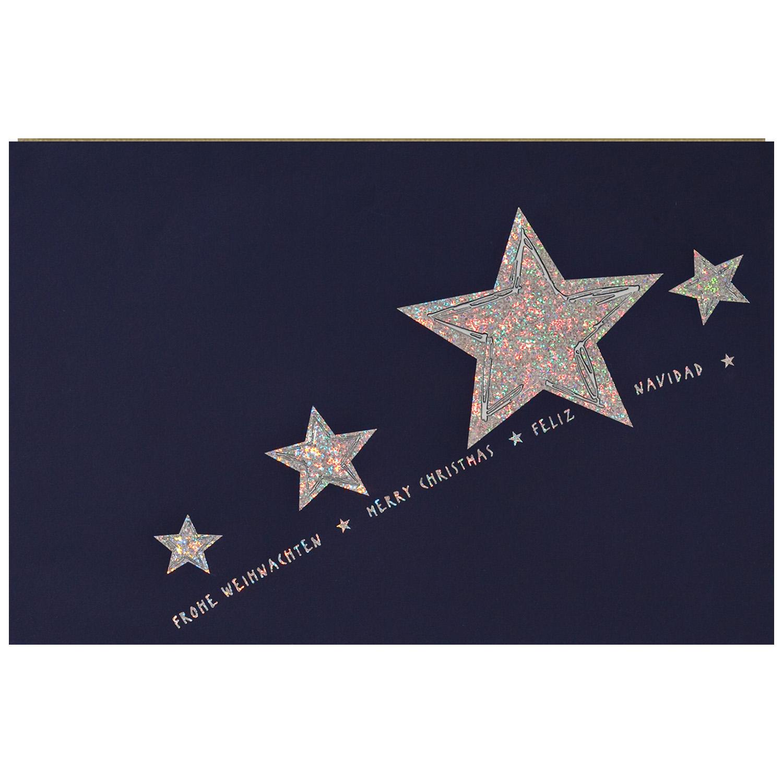Einlegeblätter Für Weihnachtskarten.Weihnachtskarte Blauer Karton Mit Weißem Einlegeblatt Und Umschlag Silberprägung