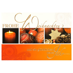 Weihnachtskarte, hochwertiger Offsetdruck und Goldprägung, inkl. Umschlag creme