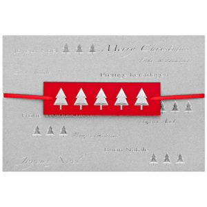 Weihnachtskarte, silberner Karton, Silberfolienprägung, Applikation in rot und silber, konfektioniert, inkl. Einlegeblatt und Umschlag in weiß