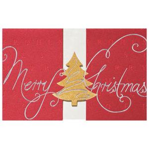 Weihnachtskarte, roter Karton, Stanzung, Gold- und Silberfolienprägung, Einlegeblatt und Umschlag in creme