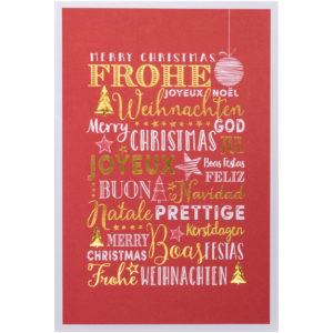 Spendenkarte: Weihnachtskarte, roter Druck auf weißem Karton, Folienprägung gold