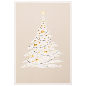 Spendenkarte: Weihnachtskarte, hellgrauer und schwarzer Druck auf cremefarbenem Karton, Folienprägung gold