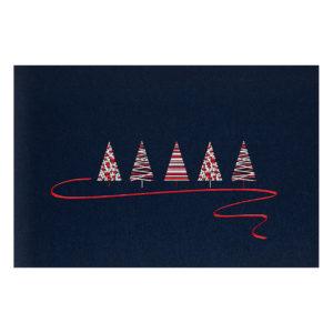 Weihnachtskarte, moderneTannenbäume auf dunkelblauem Karton, rote und silberne Folie