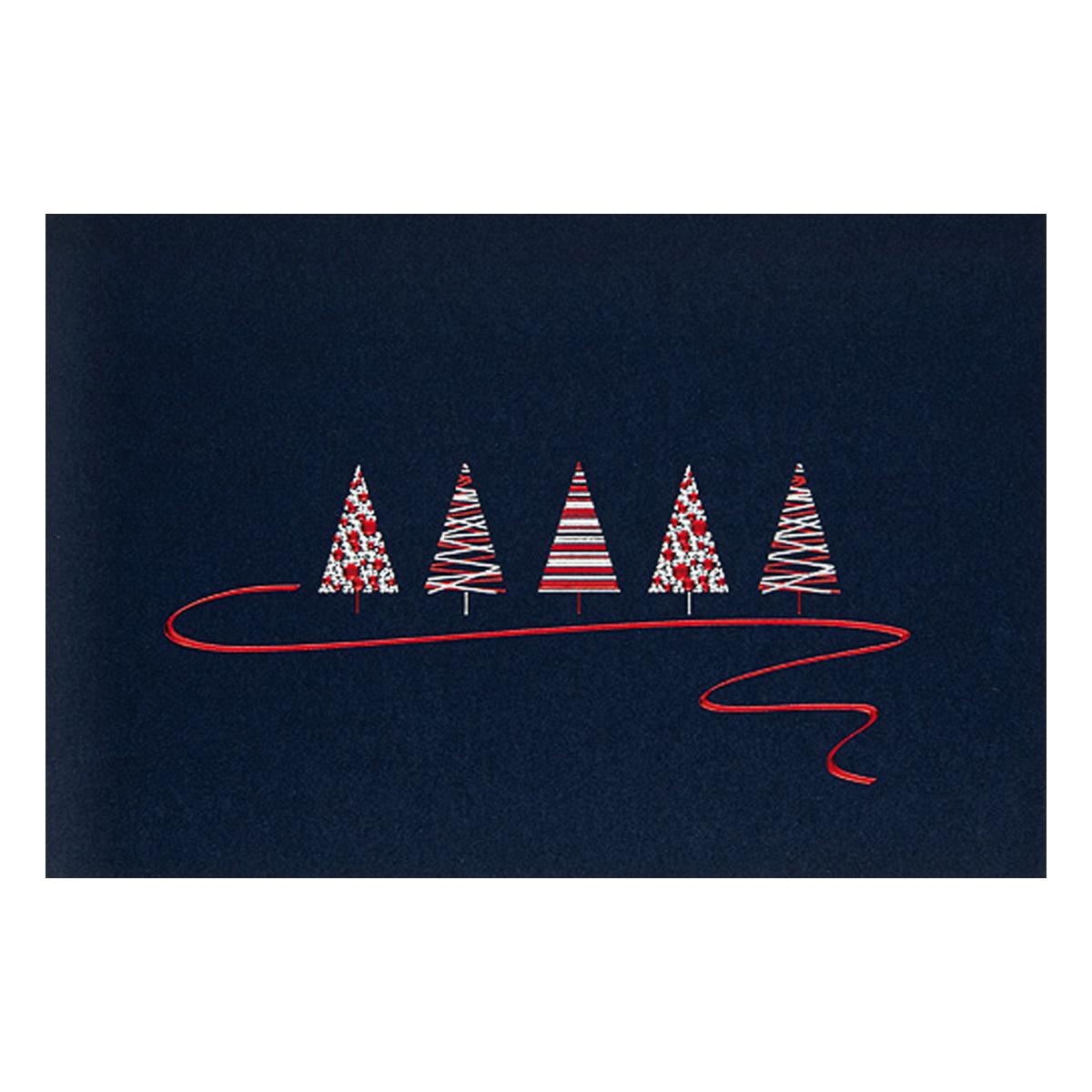 Rote Weihnachtskarten.Weihnachtskarte Moderne Tannenbäume Auf Dunkelblauem Karton Rote Und Silberne Folie