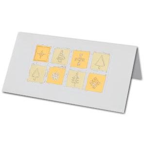 Weihnachtskarte, weißer Karton, Folienprägung gold und kupfer