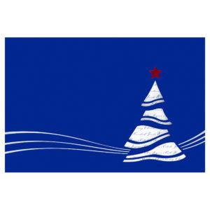 Weihnachtskarte, dunkelblauer Karton, mit Silber und Rotprägung