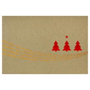 Weihnachtskarte, irisierender Karton, goldfarben, Rot- und Transparent Folienprägung